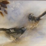 Jane Pack, Two Birds, oil on paper, 19 5/8 x 25 1/2 inches