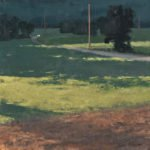 Michael Allen, Morning Shadows, 2020, Oil on linen mounted to panel, 16 x 16 inches