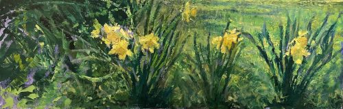 Michael Doyle, Daffodils, 2021, Oil on canvas, 30 x 10 inches