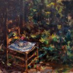 Michael Doyle, Forest Chair, oil on panel, 17 3/4 x 13 3/4 inches