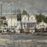 Michael Doyle, In the Marina, 2021, Oil on board, 44 ½ x 11 ¾ inches