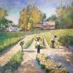 Michael Doyle, Picking Butternut Squash, 2020, Oil on linen, 30 x 36 inches