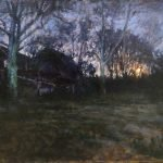 Michael Doyle, Rise of the Wolf Moon, 2020, Oil on board, 12 ¾ x 21 inches