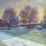 Michael Doyle, Winter Sunset, oil on panel, 17 1/4 x 46 1/2 inches