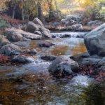 Michael Godfrey, Autumn at Sligo Creek, oil on panel, 14 x 11 inches