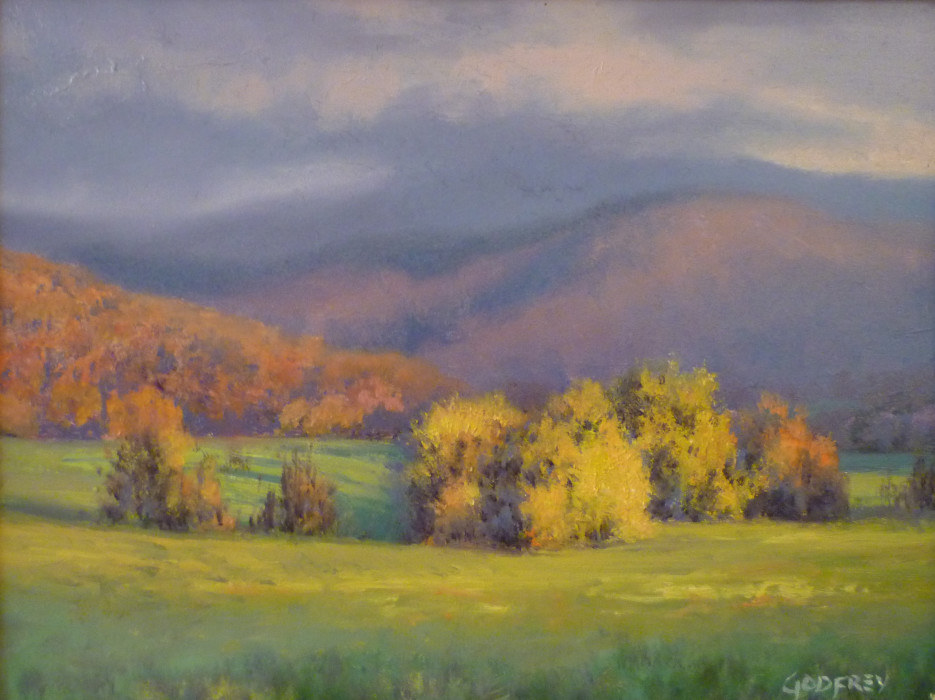Michael Godfrey, Autumn in the Valley, 2012, oil on board, 6 x 8 inches