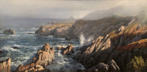 Michael Godfrey, Big Sur Morning, Oil on canvas, 24 x 48 inches