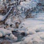 Michael Godfrey, Fresh Snow, oil on panel, 6 x 6 inches