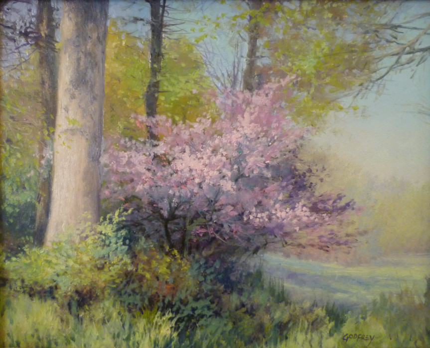 Michael Godfrey, Redbud Bloom, 2012, oil on board, 8 x 10 inches