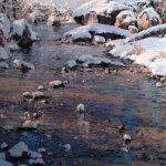 Michael Godfrey, Snow at Sligo Creek, oil on panel, 24 x 12 inches