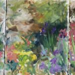 Mary Page Evans, Arden Garden III (triptych)(SOLD), Oil on paper, 28 ¼ x 63 ½ inches