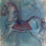 Mary Page Evans, Blue Carousel, oil on paper, 38 x 32 inches