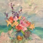 Mary Page Evans, Flowers by the Sea, 2020, Oil on canvas, 40 x 30 inches