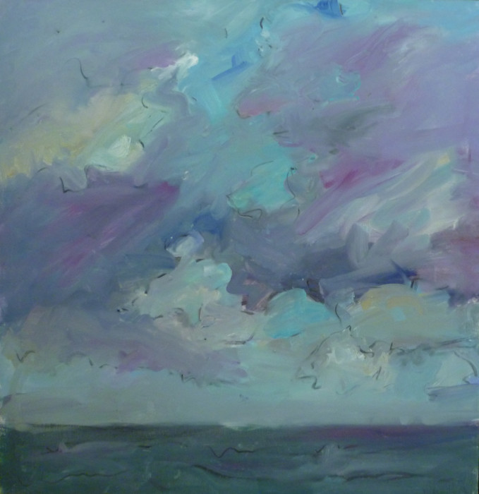 Mary Page Evans, Lines in the Sky, 2014, oil on canvas, 34 x 35 inches