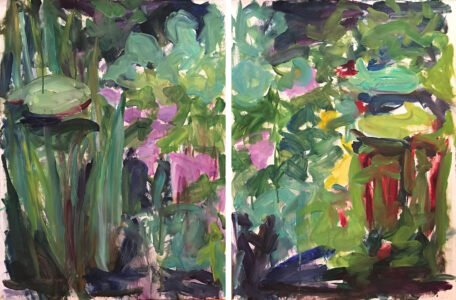 Mary Page Evans, Nymphaea series (diptych)(SOLD), 1985/1986, Oil on paper, 30 x 44 inches