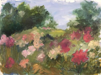 Mary Page Evans, Pennsylvania Peonies, 2020, Oil on canvas, 29 ¼ x 39 ¼ inches