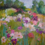 Mary Page Evans, Peonies in June, oil on canvas, 54 x 44 inches