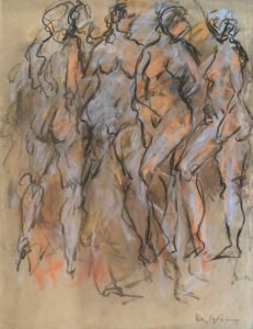 Mary Page Evans, Rhythmic Figures, 2021, Pastel and charcoal on paper, 25 ¼ x 19 ¼ inches
