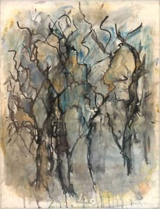 Mary Page Evans, Rhythmic Trees, 2021, Pastel, charcoal, and ink on paper, 25 ½ x 19 ¾ inches