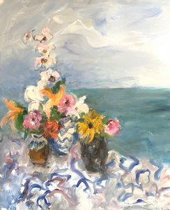 Mary Page Evans, Seaside Still Life, 2021, Oil on canvas, 35 ½ x 29 ½ inches