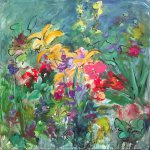 Mary Page Evans, Summer Gardens, 2017, oil on canvas, 30 x 30 inches