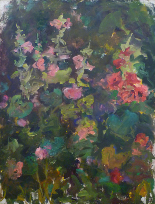 Mary Page Evans, Summer Hollyhocks, oil on canvas, 43 1/4 x 33 inches