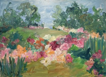 Mary Page Evans, Summer Peonies, 2021, Oil on canvas, 34 x 46 inches