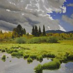Peter Sculthorpe, A Hint of Autumn, oil on linen, 12 x 12 inches