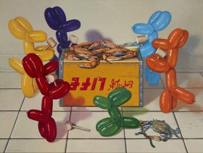 Robert Jackson, Dog Eat Dog, 2019, Oil on linen, 30 x 40 inches