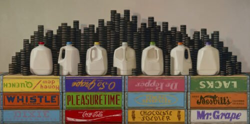 Robert Jackson, Phases of the Milk, 2019, Oil on linen, 36 x 72 inches