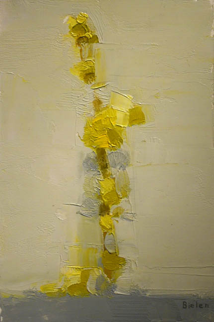 Stanley Bielen, Forsythia Sprig, 2009, oil on prepared panel, 9 1/4 x 6 1/8 inches