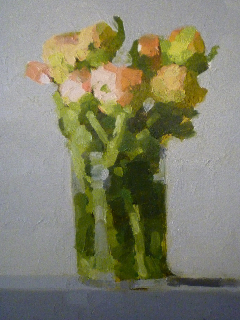 Stanley Bielen, Persian Ranunculus, 2009, oil on prepared panel, 12 1/8 x 9 1/4 inches