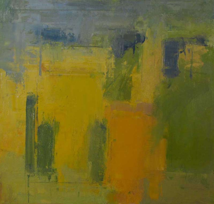 Stuart Shils, Yellow and Greens From My Window, 2012, oil on linen, 20 x 20 inches