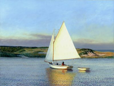 Timothy Barr, Evening Sail, 2021, oil on panel, 18 x 24 inches