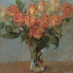 Tina Ingraham, Peach Roses in Glass Vase, 2016, oil on linen, 22 x 18 inches