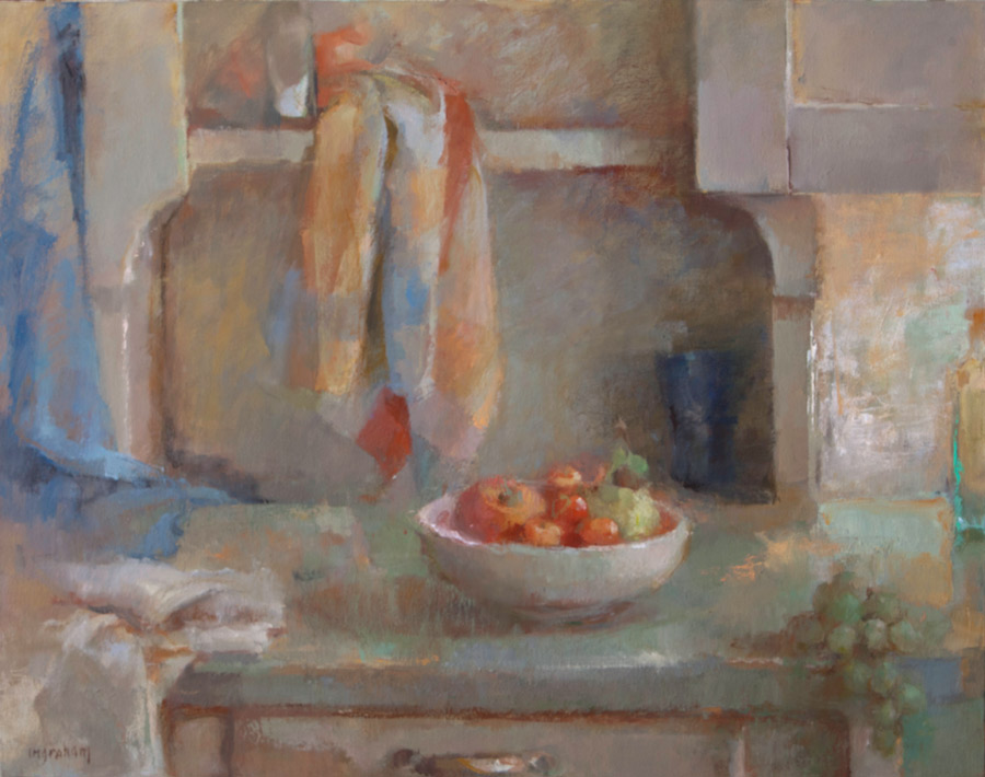 Tina Ingraham, Still Life with Fruit and Towels, 2014, oil on canvas, 28 x 22 inches