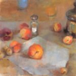 Tina Ingraham, Still Life with Shaker and Peaches, 2011, oil on double mounted linen, 16 x 16 inches