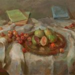 Tina Ingraham, Still Life with Figs and Cherries, 2016, oil on linen, 19 x 20 inches