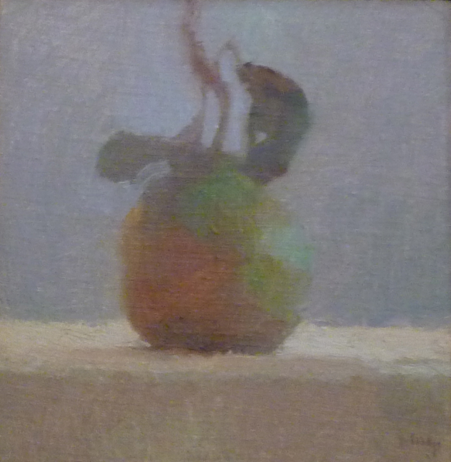 Tina Ingraham, Pear with Leaf, 2009, oil on mounted linen, 10 x 10 inches