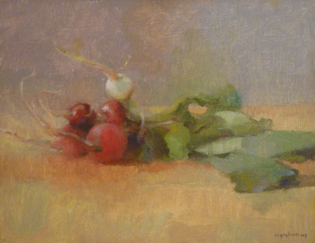 Tina Ingraham, Multi Colored Radishes, 2009, oil on mounted muslin, 10 x 13 inches