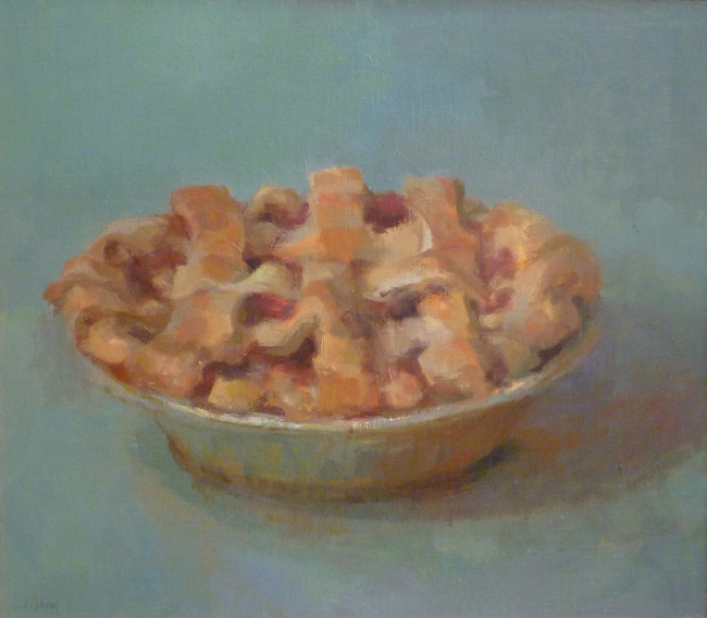 Tina Ingraham, Lattice-top Berry Pie, 2007, oil on muslin panel, 12 x 16 inches