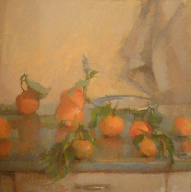 Tina Ingraham, Oranges on Table, oil on canvas, 24 x 24 inches