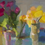 Christine Lafuente, Tulips and Daffodils, 2021, Oil on linen, 14 x 24 inches