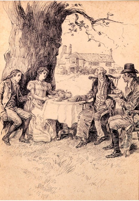 Alice Barber Stephens, Country Tea Party, pen & ink, 14 1/2 x 10 inches