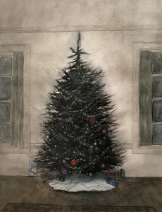 Ann Wyeth McCoy, Christmas Tree #3, watercolor, 24 x 17 3/4 inches