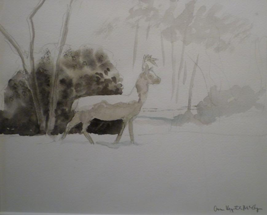 Ann Wyeth McCoy, Stone Deer, watercolor, 10 3/4 x 13 3/4 inches