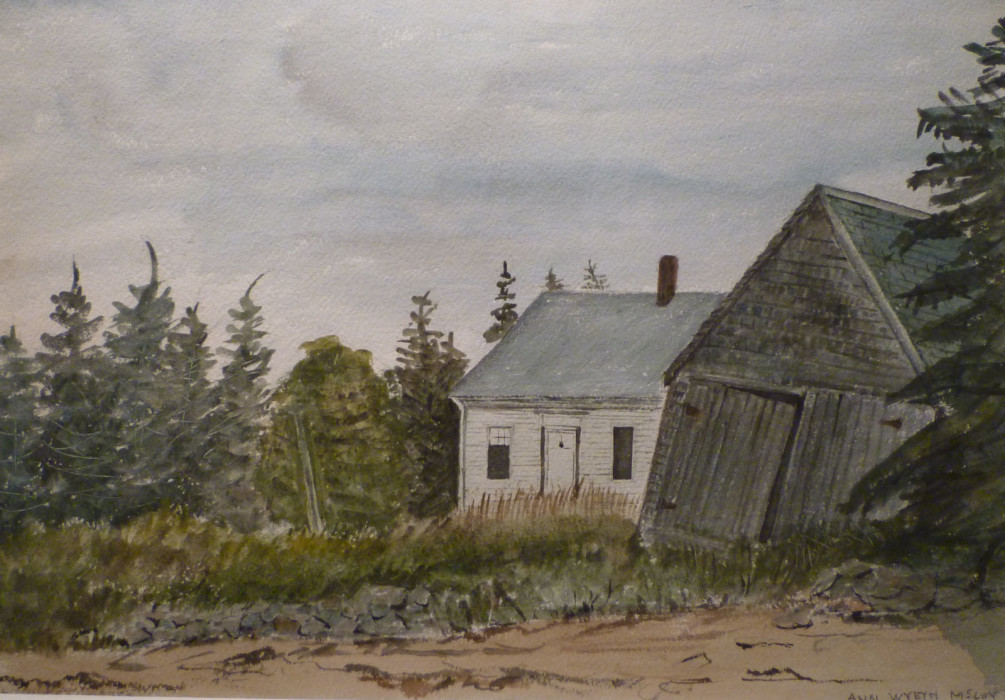 Ann Wyeth McCoy, The Old Boat House, 1955, watercolor, 13 1/2 x 19 1/2 inches