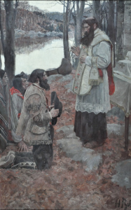 Howard Pyle (1853-1911), Father Hennepin Celebrating Mass, 1897, Oil on canvas, 22 x 14 inches