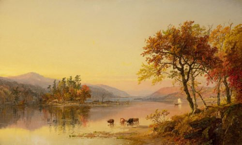 Jasper Francis Cropsey, Autumn Afternoon, Greenwood Lake, 1873 Oil on canvas 12 x 20 inches
