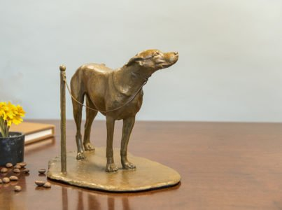 J. Clayton Bright, Coffee Shop Dog, 2018, Bronze, 6 x 9 x 5 ½ inches, Edition 1 of 25